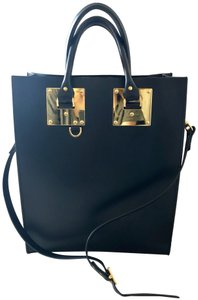 Sophie Hulme Leather Gold Hardware Structured Crisscross Strap Tote in Black