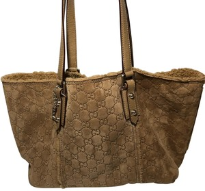 Gucci Suede Shearling Leather Tote in Brown