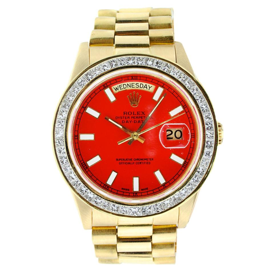 Rolex Yellow Gold Vintage 36mm Day Date President With Diamond Bezel Watch
