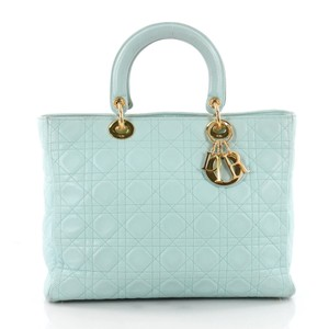 a36016cccf2c Dior Lambskin Cannage Lady Top Handle Satchel in Tiffany Blue