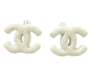 Chanel Chanel White Stone CC Clip on Earrings