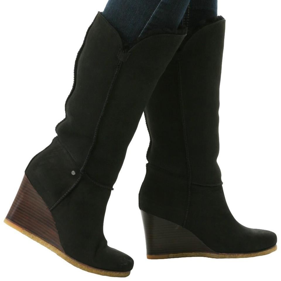 6b62a993a1e UGG Australia Black Luxe Line Aprelle Suede Real Fur Lined Style:3195  Boots/Booties Size US 5 Regular (M, B)