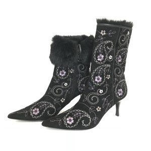 Richard Tyler Embellished Ankle Embroidered Faux Fur Black Boots