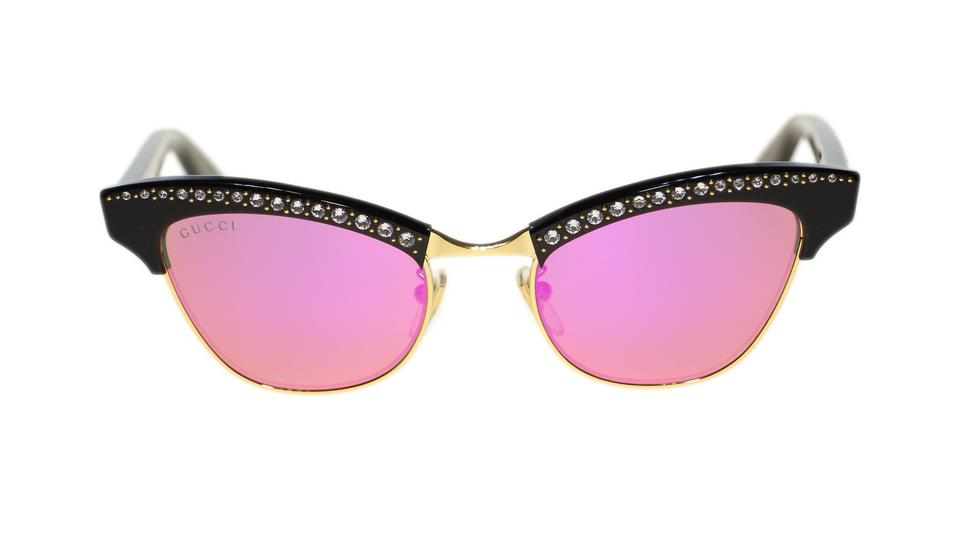 6d5a2ee4f30 Gucci Gucci Women Sunglasses GG0153S 001 Black Pink Mirrored Lens 49mm  Image 0 ...