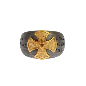 Gray / Gold D19146-1 Crest 925 Sterling Ring (Eu 66 / Us 12) Men's Jewelry/Accessory