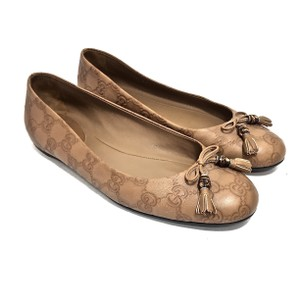 Gucci Logo Leather Tassels Round Toe Ballerina Brown Flats