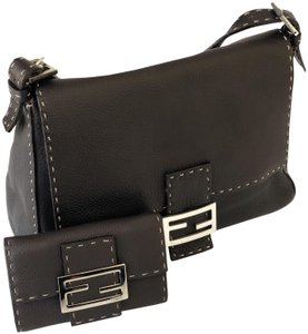 Fendi Vintage Classic Selleria Stitched Leather Baguette