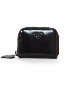Prada Glazed Leather Zip Around Coin Purse Pouch