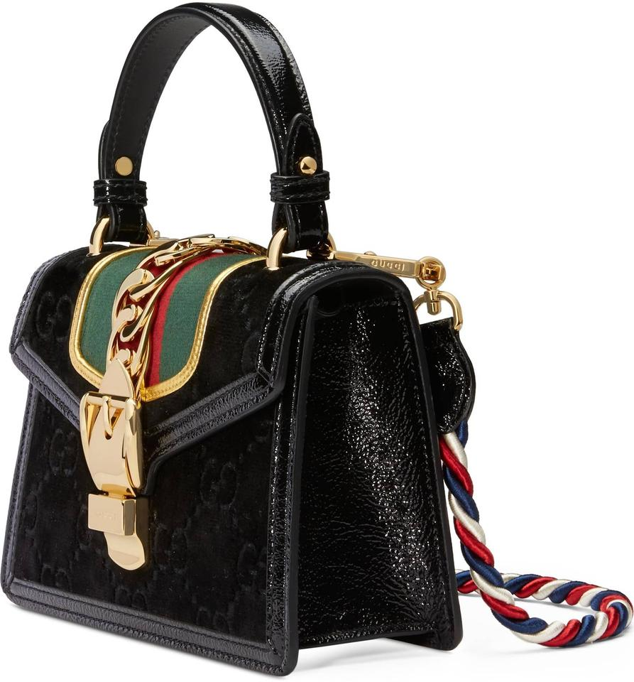 f64ba7928c8948 Gucci Sylvie Gg Velvet Mini Black Leather Shoulder Bag - Tradesy