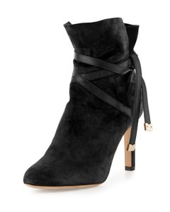 """Jimmy Choo Suede 3.3"""" Covered Heel Split Collar Ankle Wrap Ties Made In Italy Black Boots"""
