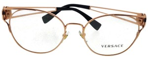 Versace VE1250-1412-52 Womens Rose Gold Frame With Clear Lens Eyeglasses NWT