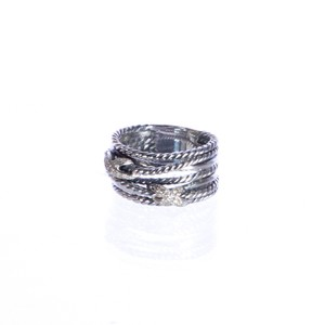 David Yurman Double X Crossover Ring with Diamonds 9-14mm Sz 6 $650 NWOT