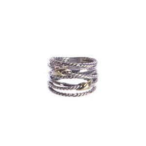 David Yurman Double X Crossover Ring with Gold 9-14mm Sz 6 $450 NWOT
