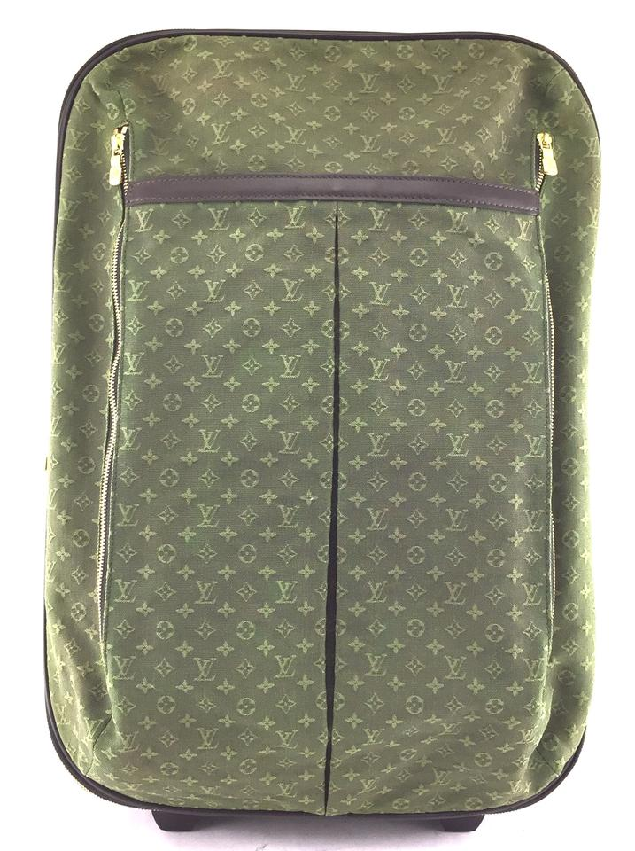 cd11405f0b49 Louis Vuitton  23069 Pegase 55 Roller Luggage Suitcase Carry On Green Mini  Lin Idylle Monogram Canvas Weekend Travel Bag