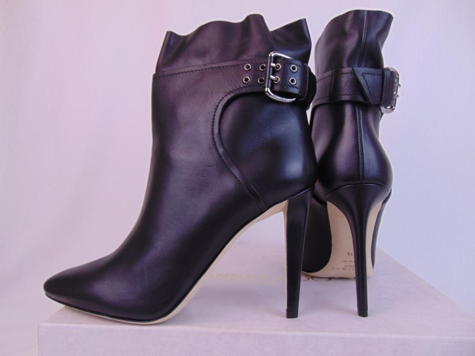 962dc90935a5 Jimmy Choo Black Major 100 Leather Buckle Ankle Pumps 9 Italy Boots Booties  Size EU 39 (Approx. US 9) Regular (M