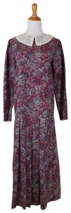 Laura Ashley Vintage Drop Waist Longsleeve Wool Lace Collar Dress