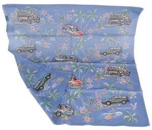 Saint Laurent New Saint Laurent YSL Men's 456837 Cotton Car Pattern Pocket Scarf