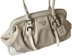 Prada Vintage Leather Coated Canvas Satchel in White