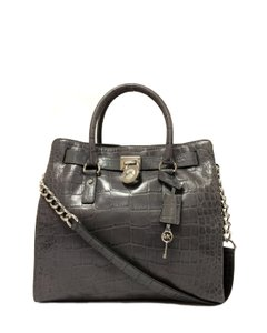 MICHAEL Michael Kors Crocodile Hamilton Embossed Leather Satchel in Grey