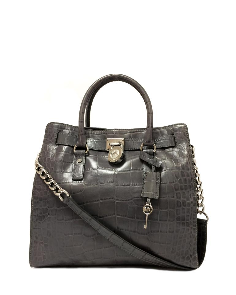41d8f81bb718 MICHAEL Michael Kors Crocodile Hamilton Embossed Leather Satchel in Grey  Image 0 ...