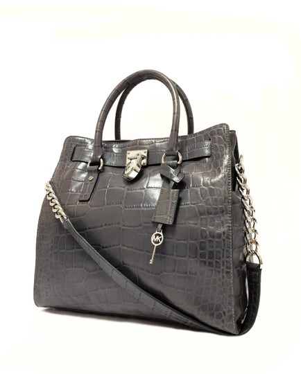 MICHAEL Michael Kors Crocodile Hamilton Embossed Leather Satchel in Grey Image 1
