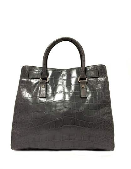 MICHAEL Michael Kors Crocodile Hamilton Embossed Leather Satchel in Grey Image 11