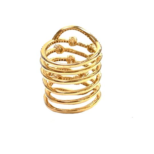 Other (035) 14K Yellow Gold CZ Flower Spring Ring Image 2