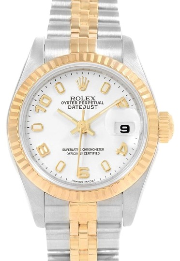 Preload https://img-static.tradesy.com/item/24197316/rolex-white-datejust-26-steel-yellow-dial-ladies-79173-watch-0-1-540-540.jpg