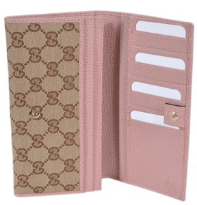 Gucci New Gucci Women's 346058 Beige Pink Canvas Leather Continental Wallet