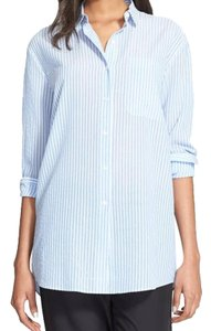 ATM Anthony Thomas Melillo Boyfriend Casual Classic Button Down Shirt candy striped blue white