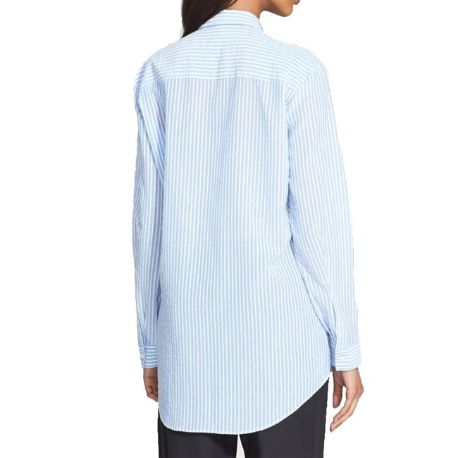 ATM Anthony Thomas Melillo Boyfriend Casual Classic Button Down Shirt candy striped blue white Image 1