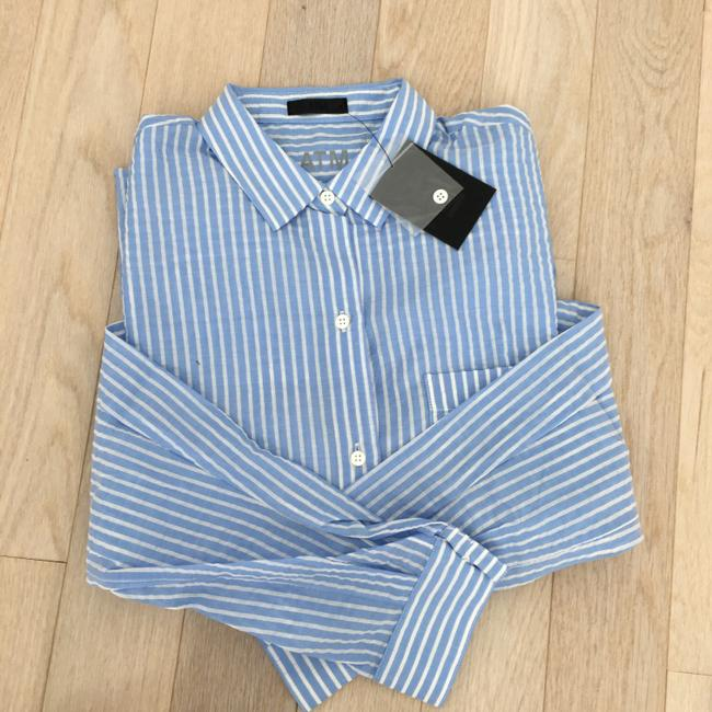 ATM Anthony Thomas Melillo Boyfriend Casual Classic Button Down Shirt candy striped blue white Image 2