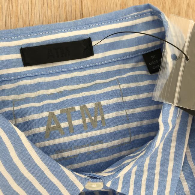 ATM Anthony Thomas Melillo Boyfriend Casual Classic Button Down Shirt candy striped blue white Image 4