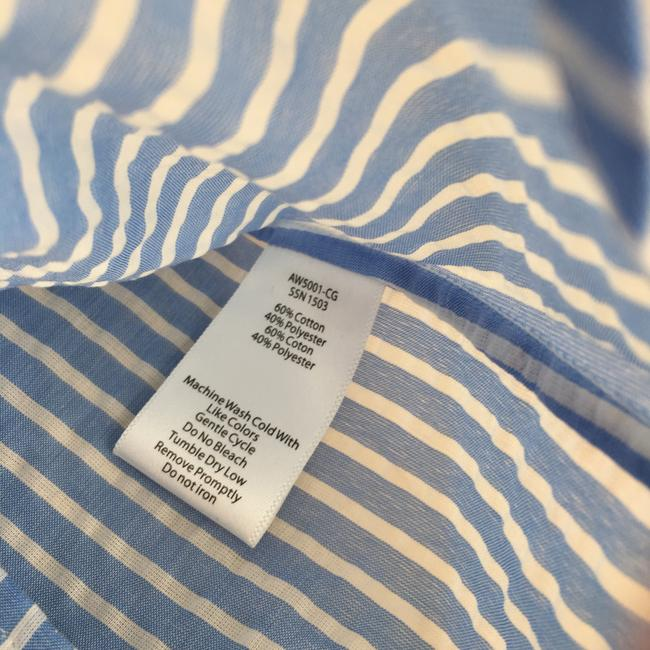ATM Anthony Thomas Melillo Boyfriend Casual Classic Button Down Shirt candy striped blue white Image 5