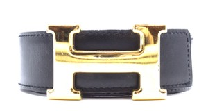 Hermès 32Mm classic gold H Reversible leather Belt Size 76