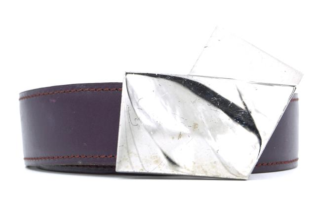 Item - #22981 Dark Purple On Pink Rare 32mm V Silver Buckle Reversible Leather Size 75 Belt