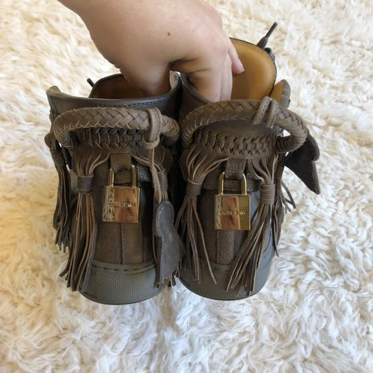 Buscemi Leather Fringe Sneaker Lace Up Lock Gray Athletic Image 2