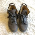 Buscemi Leather Fringe Sneaker Lace Up Lock Gray Athletic Image 3