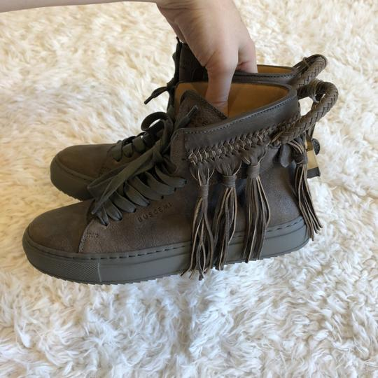 Buscemi Leather Fringe Sneaker Lace Up Lock Gray Athletic Image 5