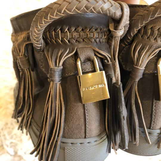 Buscemi Leather Fringe Sneaker Lace Up Lock Gray Athletic Image 6