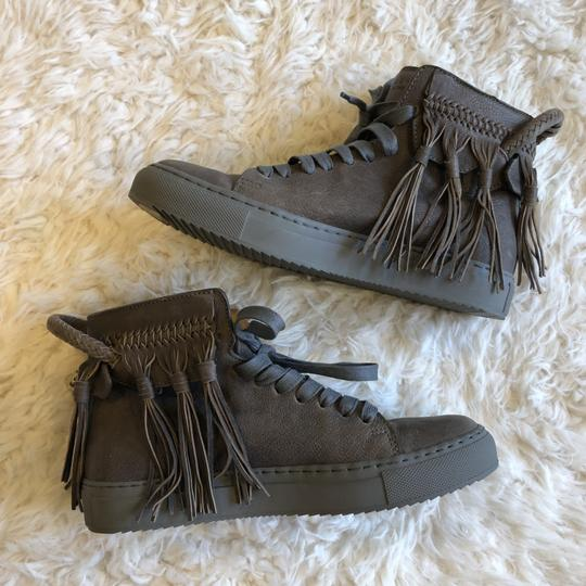 Buscemi Leather Fringe Sneaker Lace Up Lock Gray Athletic Image 8