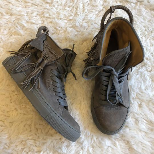 Buscemi Leather Fringe Sneaker Lace Up Lock Gray Athletic Image 9