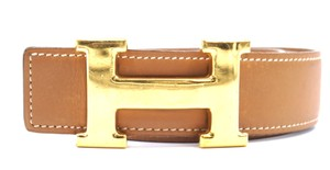 Hermès 32Mm classic gold H Reversible leather Belt Size 70