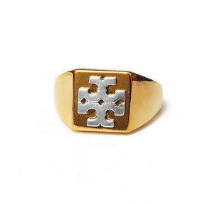 Tory Burch New Tory Burch Block T-Logo Ring - Size 7 Brass Gold Silver