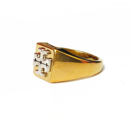 Tory Burch New Tory Burch Block T-Logo Ring - Size 7 Brass Gold Silver Image 1