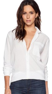 ATM Anthony Thomas Melillo Boyfriend Button Front Career Casual Work Button Down Shirt white