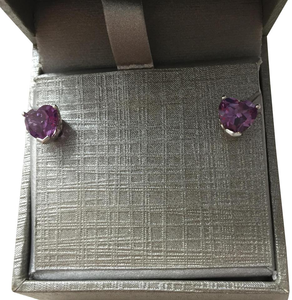 Zales Purple The Diamond Store Heart Shaped Amethyst Stud Earrings