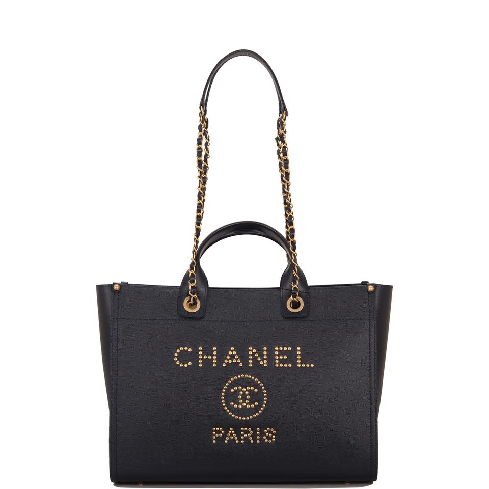 fca03671a516 Chanel Shopping Tote Deauville Navy Large Blue Leather Tote - Tradesy