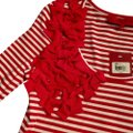 Sinclaire 10 Embellished Stretchy Bold Embroidered Bows Top Red & White Stripes Image 0