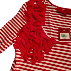 Sinclaire 10 Embellished Stretchy Bold Embroidered Bows Top Red & White Stripes